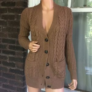 Zara light brown sweater with elbow patches
